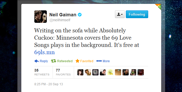 Twitter screenshot from @neilhimself